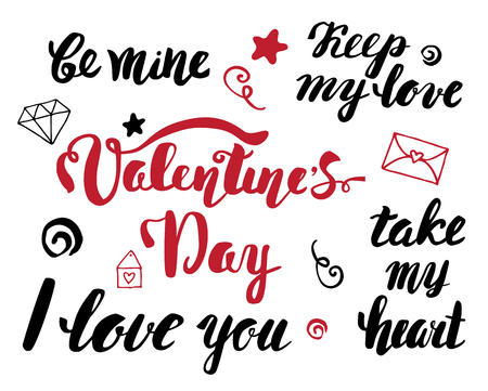 phrases: Valentines Day. A set of hand lettering phrases. Valentines Day calligraphy Illustration