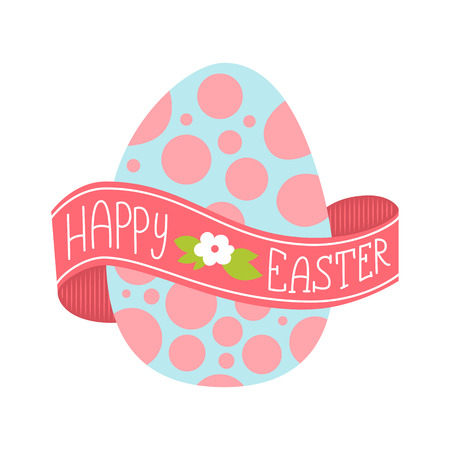 wrapped around: Happy Easter greeting card. Hand Drawn vector lettering with big egg. Lettering on a ribbon wrapped around the egg. Illustration