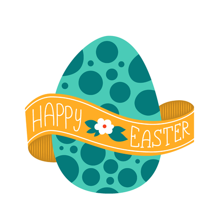 wrapped around: Happy Easter greeting card. lettering with big egg. Lettering on a ribbon wrapped around the egg.