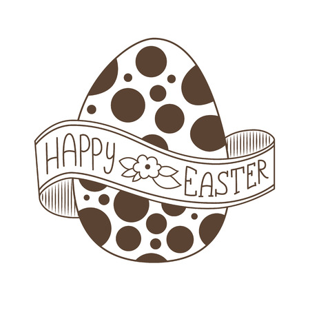 wrapped around: Happy Easter greeting card. Hand Drawn lettering with big egg. Lettering on a ribbon wrapped around the egg. Illustration