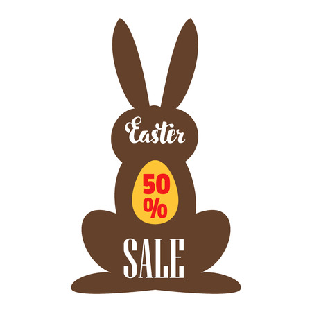 Easter sale. Easter discount coupon in the form of a chocolate Bunny. Vettoriali