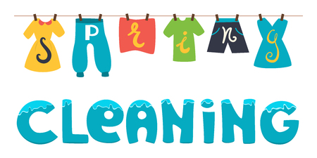 spring cleaning: Spring cleaning. Vector banner illustration. Wash the clothes drying on the clothesline.
