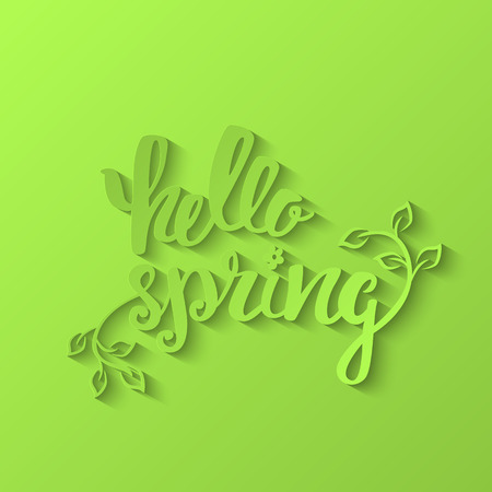 Hello Spring. Hand lettering, calligraphy inscription