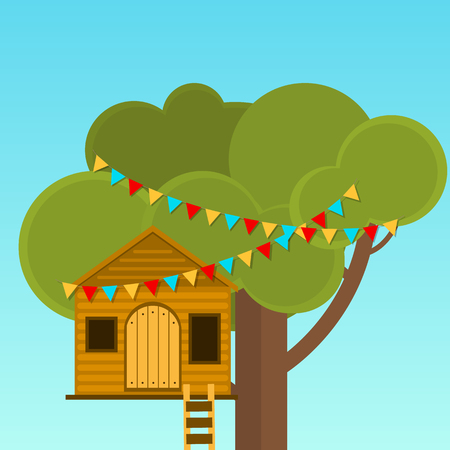 cache: Tree House childrens games. Playhouse on the tree. Secret place.
