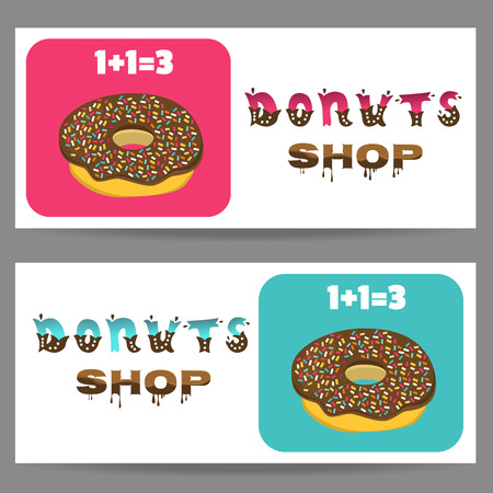 bakery price: Special offer Donuts shop. Gift voucher template. Flyer Donuts store.