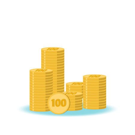style wealth: Stacks of gold coins. The concept of well-being and monetary wealth. Flat style. Vector Illustration