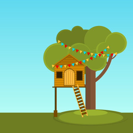 Tree House childrens games. Vector Playhouse on the tree. Secret place.