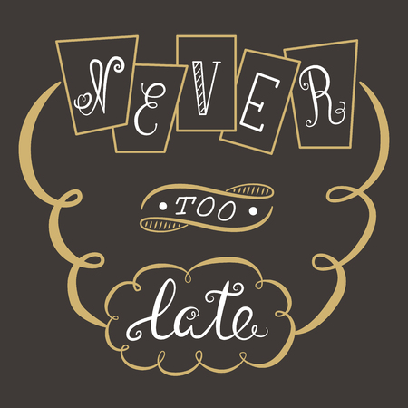 too late: Never too late. The poster with a motivational phrase. Hand lettering phrase.