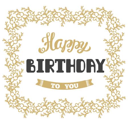 Feliz cumpleaños. tarjeta de felicitación del vector. letras de la mano.