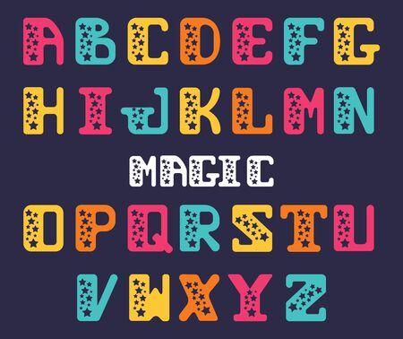 Alfabeto de letras mayúsculas con las estrellas. Estrella serif. Conjunto de cartas para la decoración de carteles o invitaciones festivas.