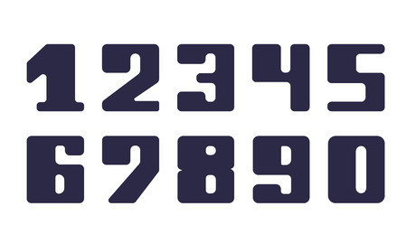 numeral: Set fatty numeral for decoration and design