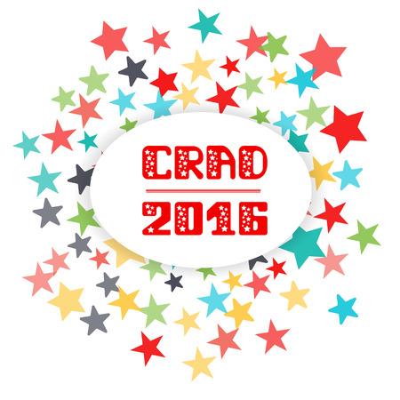 grad: Grad 2016 Vector emblem lettering. Graduate Party 2016 Vector lettering. fireworks background of stars. Vector lettering.