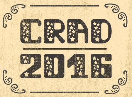 grad: Grad 2016 Vector emblem lettering. Retro shabby Vector lettering