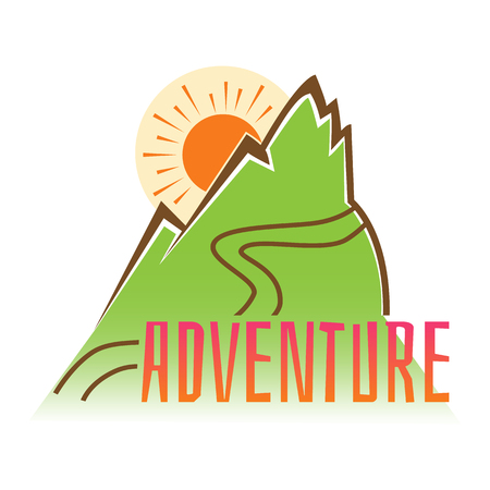 Adventure. Vector emblem inscription on the background of mountains Çizim