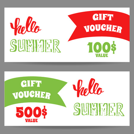 sale tags: Hello summer. Set of template of gift vouchers.