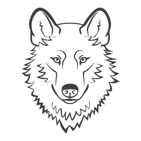 Wolf hoofd Logo Mascot Emblem. realistische wolf