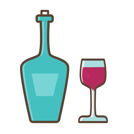 stopper: Bottle of wine with a glass stopper in trendy linear style. Illustration