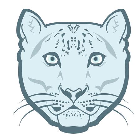 snow leopard: Snow Leopard Logo Mascot Emblem vector. Snow leopard head