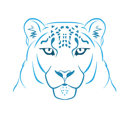 Snow leopard logo mascot. Snow leopard head isolated vector illustration.
