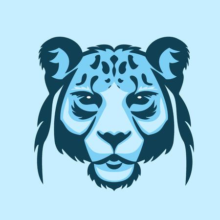 snow leopard: Snow leopard logo mascot. Snow leopard head isolated vector illustration.