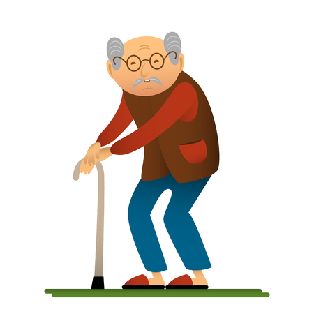 Funny illustration of old man with cane, cartoon character.