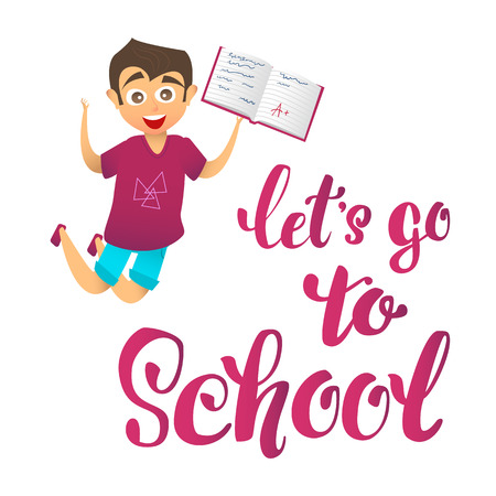 school notebook: lets go school. Happy cute boy character joyfully jumps up and holds school notebook with excellent marks. Illustration