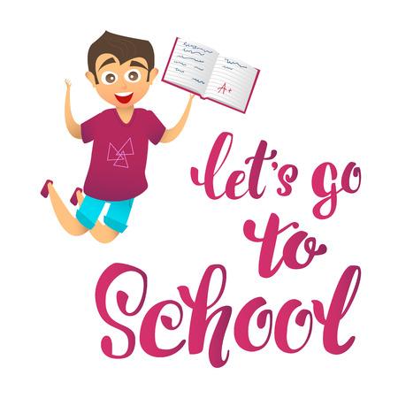 ir al colegio: vamos a ir a la escuela. Carácter feliz lindo muchacho alegre salta hacia arriba y mantiene cuaderno escolar con excelentes notas.