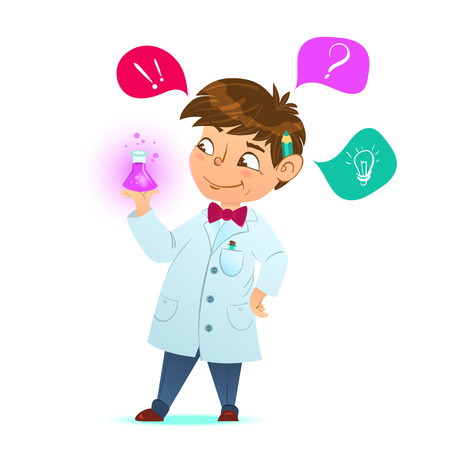 smart boy: Cute little smart boy. The boy scientist. Little boy holding a test tube, holds a chemical experiment. Cartoon character, mascot.