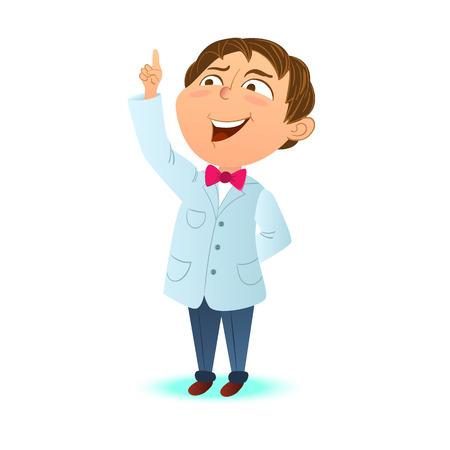 Cute clever kid, a boy scientist index finger up. Clever boy got the idea. Cartoon character, mascot.