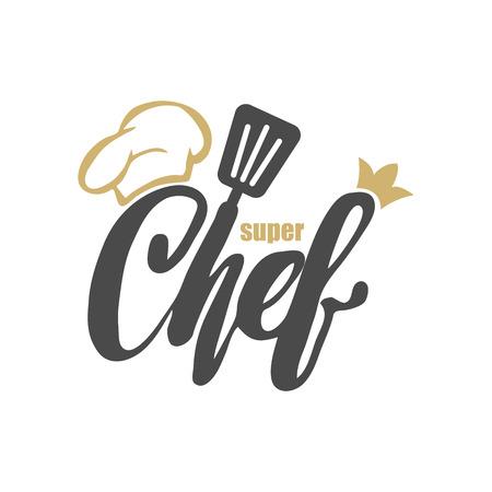 Logo du chef. Lettrage Lettre à la main avec un chef cap. Symbole logo logo