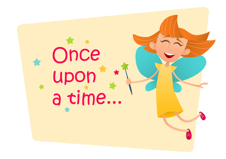 enchantment: Once upon a time. Fun cute fairy girl with wings and a magic wand. Illustration