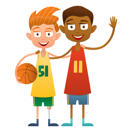 boy basketball: Disabled boy basketball player with a friend. Two cute boys basketball