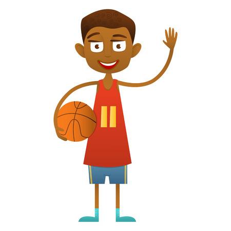 Cute dark-haired teenage boy with dark basketball ball waving. Illustration