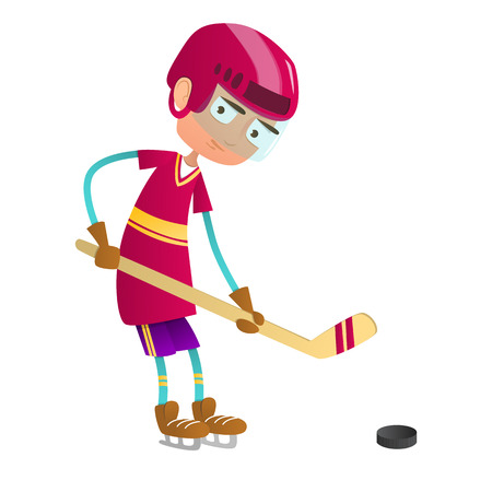 puck: Cute teenage boy hockey player with hockey stick and puck.