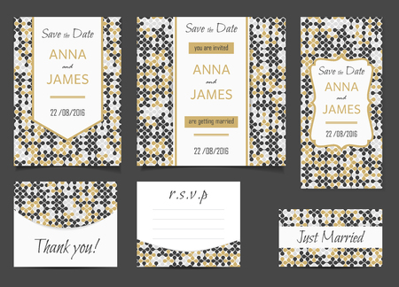 rsvp: Beautiful wedding set of printed materials with a abstract design. Wedding invitation card, save the date cards, R.S.V.P. and thank you card