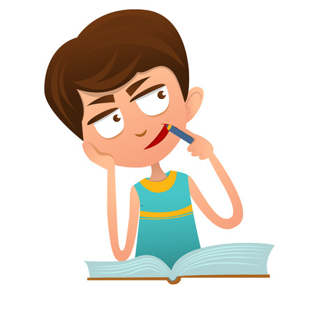 Netter kluger Junge Hausaufgaben mit einem Buch, in Gedanken versunken