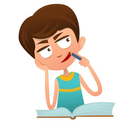Inteligente chico lindo hacer la tarea con un libro, perdido en sus pensamientos Foto de archivo - 68838485