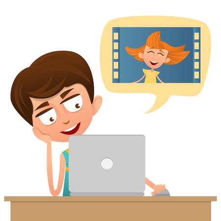 Jongen tiener het maken van een video-oproep van uw computer naar een meisje