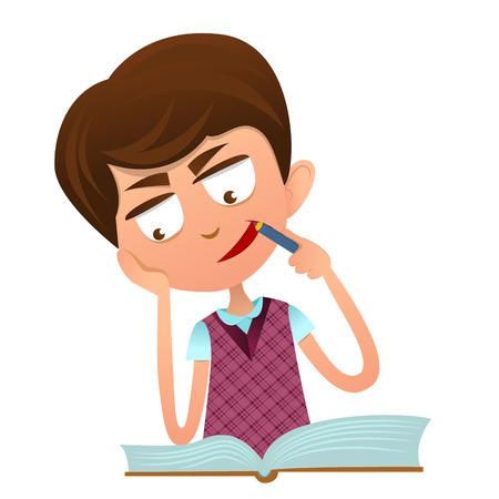 inteligente chico lindo hacer la tarea con un libro, perdido en sus pensamientos