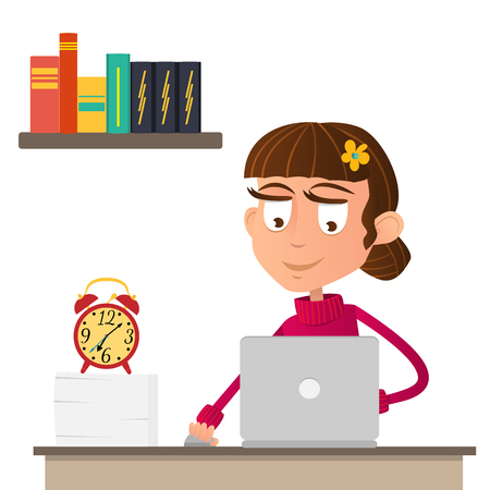 Serious girl working on the computer. Books on the shelf. Cartoon character