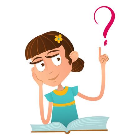 Smart jolie fille assise sur un livre et tenant un doigt levé Smart mignon petit garçon assis sur un livre et tenant un doigt levé et un point d'interrogation. Banque d'images - 70794723
