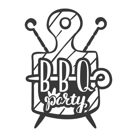 barbecue party label logo and emblem vector templates isolated