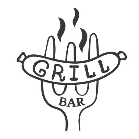 Grill bar logo. Vintage barbecue restaurant logo design