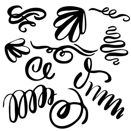 Set of hand draw elements, lines and ornaments of calligraphy brush 向量圖像