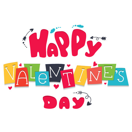 Postcard Valentines Day with Lettering inscriptionin cartoon style