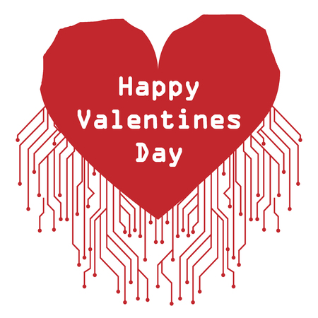 Postcard with Valentines Day in high-tech style. Big heart with an inscription and microchips.