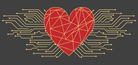 Postcard with Valentines Day in high-tech style. Big heart with an inscription and microchips or with circuit board