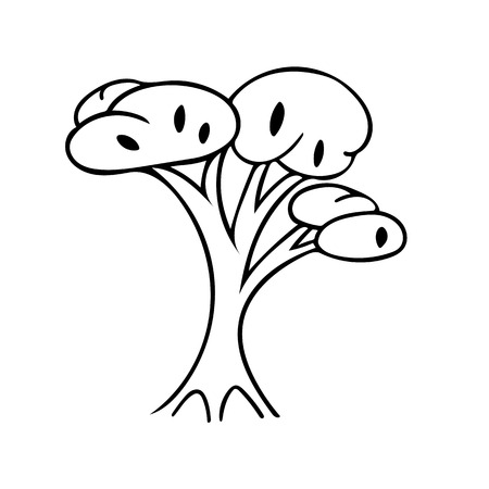 Hand drawing black and white tree. Cartoon style.