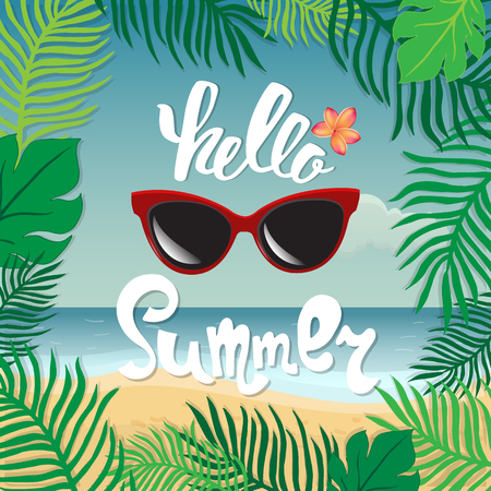 Hello summer. Hand lettering on the background of the sea shore