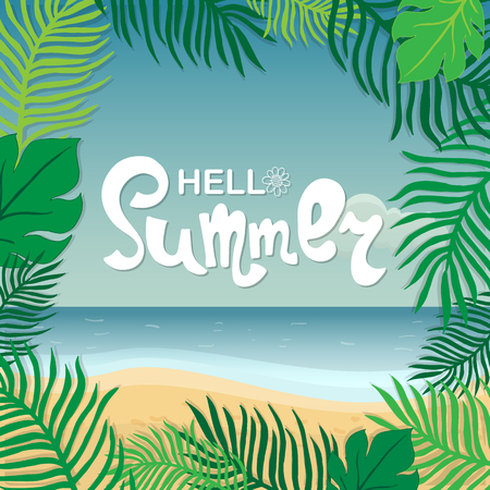 Hello summer. Hand lettering on the background of the sea shore 版權商用圖片 - 122489193